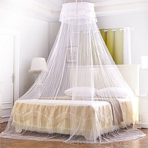 Mosquito Net, Ubegood Bed Canopy Round Lace Dome Fits Queen Beds Circular Natural kids bed canopy Screen Netting Curtains Insect Protection Repellen Suitable for Indoor or Outdoor Use