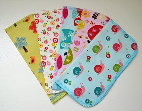 1 Ply Printed Flannel Washable, Flowers, Snails, and Bird Tails Set Napkins 8x8 inches - Little Wipes (R) Flannel
