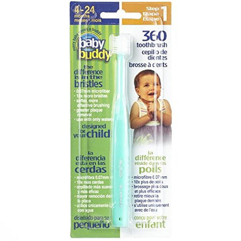 Baby Buddy 360 Toothbrush Step 1 Stage 5 for Babies/Toddlers , Kids Love Them, Green