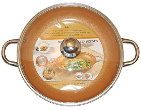 Cooper Frying Pan 14-Inch With Tempered Glass Lid Non Stick Ceramic Infused Titanium Steel Oven Safe, Dish Washer Safe, Scratch Proof Round Handles For Comfort Grip