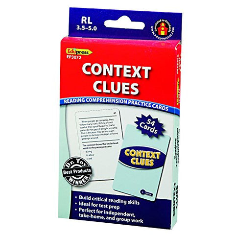 Edupress Reading Comprehension Practice Cards, Context Clues, Blue Level (EP63072)