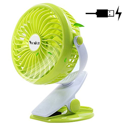 Clip on Fan, Yoosion Mini USB Table Desktop Personal Fan Rechargeable Clip-on 4 Blades for Home Office Baby Study Green