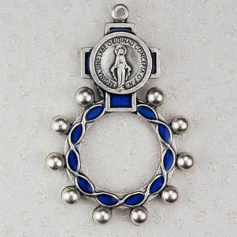 High Quality Blue Miraculous Rosary Ring (94-21)