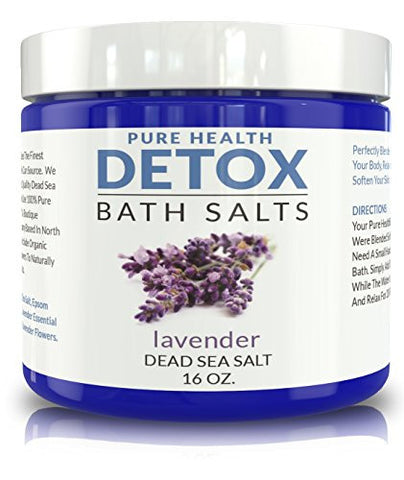 Detox Bath Salt Soak. Relaxing All-Natural Mineral Blend of Dead Sea and Epsom Salts Plus Coconut Oil and Organic Lavender. Helps Cleanse Your Body and Relax Your Muscles.16 oz.