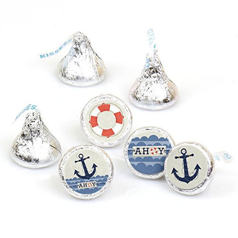 Ahoy - Nautical - Party Round Candy Sticker Favors  Labels Fit Hersheys Kisses (1 sheet of 108)