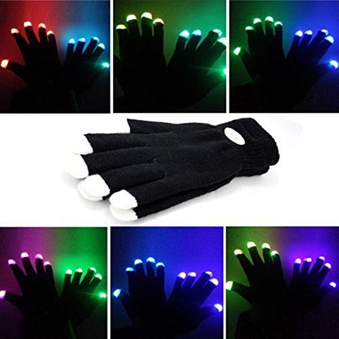 MUCH Flashing Finger Lighting Gloves LED Colorful Rave Gloves 7 Colors Light Show