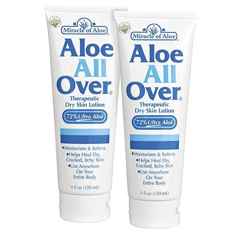 Aloe All Over 4 oz - BEST Skin Lotion For Moisturizing Severe Dry Flaky Itchy Skin Legs Arms Hands Glowing Baby-Soft Skin