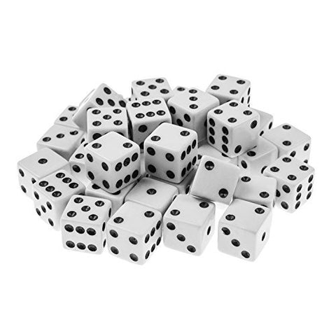 Standard 16mm White Dice with Black Pips Dots for Board Games, Activity, Casino Theme, Party Favors, Toy Gifts  by Super Z Outlet