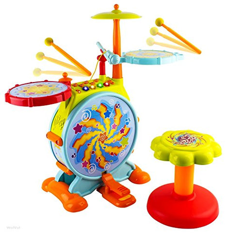 WolVol Electric Big Toy Drum Set for Kids with Movable Microphone to Sing and a Chair - Tons of Various Functions and Activity, Bass Drum and Pedal (Adjustable Volume)