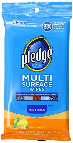 Pledge Multi Surface Everyday Wipes Fresh Citrus, 25-Count