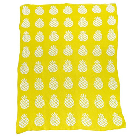 Brandream Yellow Pineapple Knitted Blanket Kids Bed Blanket Adults Summer Blanket