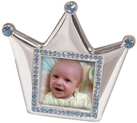 Stephan Baby Royalty Collection Keepsake Silver Plated Frame, Little Prince Crown