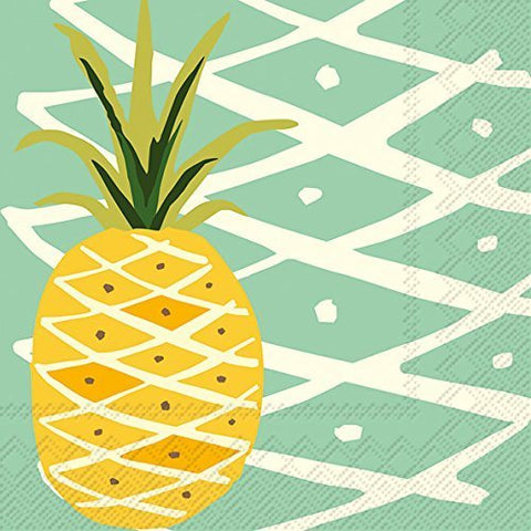 Ideal Home Range C012640 20 Count Teal Tropical Pineapple 3-Ply Paper Cocktail Napkins, Multicolor