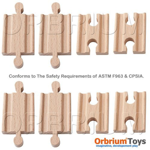 Orbrium Toys Male-Male Female-Female Wooden Train Track Adapters Fits Thomas Brio Chuggington