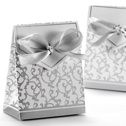 WINOMO 50pcs Gift Boxes with Ribbons Wedding Party Favour Candy Boxes (Silver)