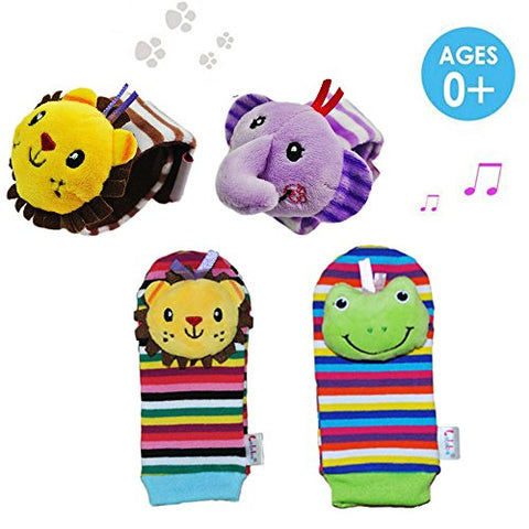 Daisy 4 Packs Adorable Animal Infant Baby Wrist Rattle & Foot Finder Socks Best Gift Developmental Toys Set - Lion and Elephant