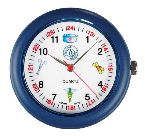 Prestige Medical Analog Stethoscope Watch with Medical Symbols, Blue