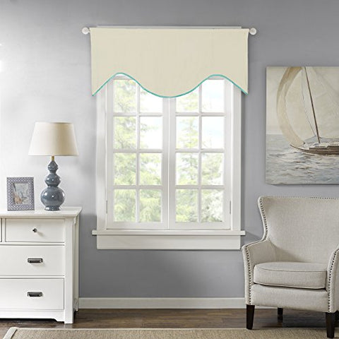 H.Versailtex Blackout Kitchen, Bath, Laundry, Bedroom, Living Room Curtain / Window Scallop Valances, Rod Pocket - 58x17 - Inch in Cream