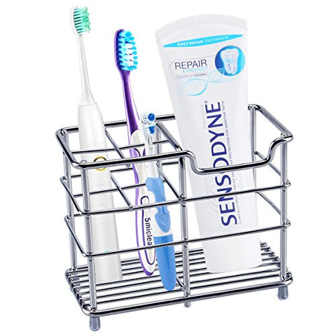 Toothbrush Holder, Aiduy Toothpaste Holder Stand Bathroom Storage Organizer Rack for Vanity Countertops - Stainless Steel