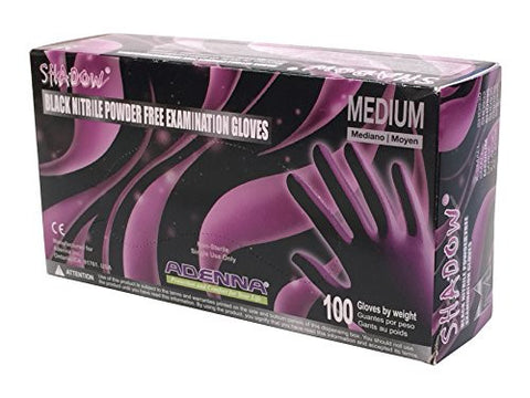Adenna Shadow 6 mil Nitrile Powder Free Exam Gloves (Black, Medium) Box of 100