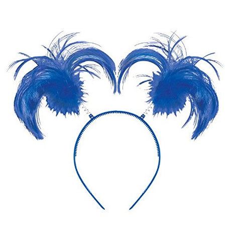 Feathers and Ponytails Headband Costume Party Headwear Accessory, Blue, Plastic, 5 x 8.
