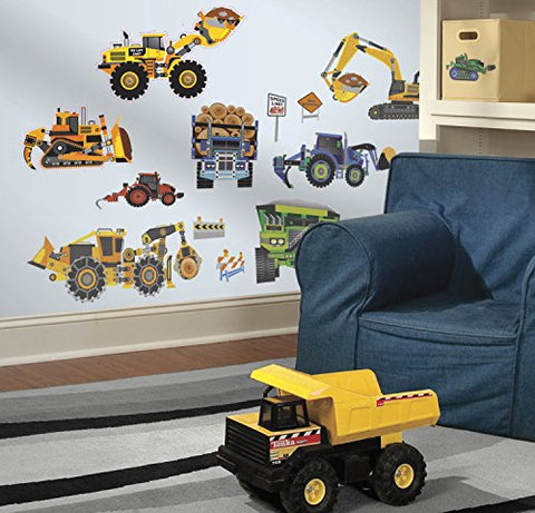 RoomMates SPD0003SCS Construction Vehicles Peel and Stick Wall Decals, 18 Count,