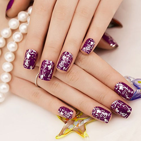 ArtPlus 24pcs Silver Purple Garden Metallic False Nails French Manicure Full Cover Medium Length with Glue Fake Nails