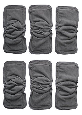 Bamboo Charcoal Inserts or Doublers with Gussets for Baby Cloth Diapers Large 14 X 5