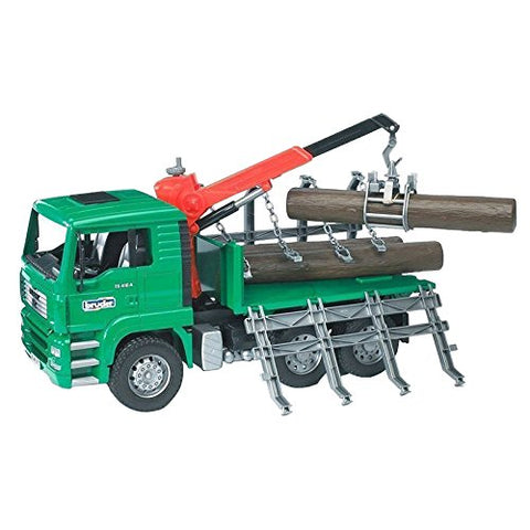 Bruder Toys Man Timber Truck with Loading Crane and 3 Trunks