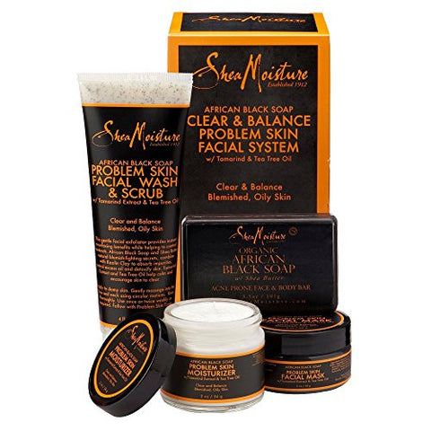 SheaMoisture African Black Soap Facial Care Trio, Includes 4 Once. Problem Skin Facial Mask, 2 Once. Moisturizer, 4 Once. Facial Wash and Scrub and 3.5 Once. Bar Soap