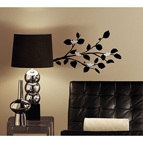 RoomMates RMK2690SCS Modern Black Branch Peel and Stick Wall Decals with Bendable Flower Mirrors