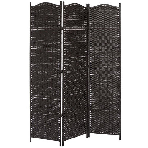 3 Panel Dark Brown Wood & Bamboo Woven Room Divider, Decorative Indoor Folding Screens