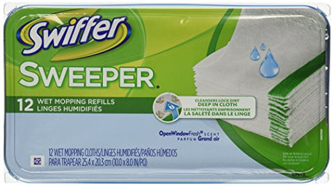 Swiffer Sweeper Wet Mopping Cloths Mop And Broom Floor Cleaner Refills Open Window Fresh Scent 12 Count