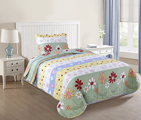MarCielo 2 Piece Kids Bedspread Quilts Set Throw Blanket for Teens Boys Girls Bed Printed Bedding Coverlet, Twin Size, Green Floral(Twin)