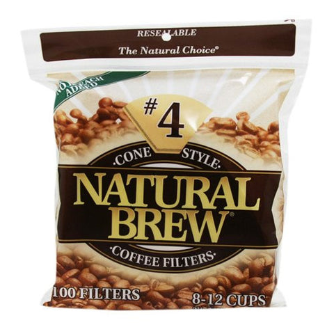 Natural Brew #4 Cone Coffee Filters, Natural Brown Paper, 100-Count Bags