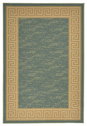 Meander Design Printed Slip Resistant Rubber Back Latex Runner Rug and Area Rugs 5 Color Options Available (Teal Blue, 3'3  x 4'11 )