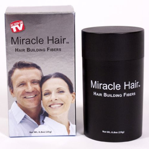 Miracle Hair PREMIUM All Natural Hair Building Fibers for Instantly Thicker Looking Hair! (25g) 75-Day Supply: BLACK