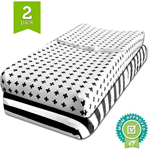 Changing Pad Cover, Cradle Bassinet Sheets Fitted Jersey Cotton  Black, White by Ziggy Baby