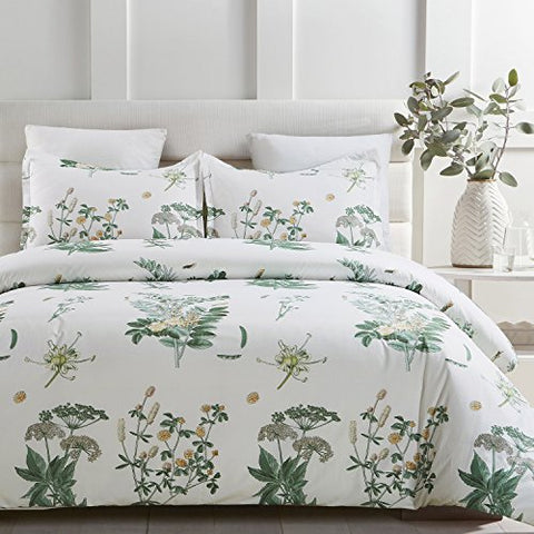 Vaulia Lightweight Microfiber Duvet Cover Sets, Printed Floral Pattern Design - Queen Size