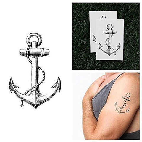 Tattify Vintage Anchor Temporary Tattoo - Submerged (Set of 2) - Other Styles Available and Fashionable Temporary Tattoos