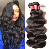 Beauty Forever Hair Peruvian Virgin Hair Body Wave Weft 3bundles /Pack 100% Unprocessed Human Virgin Hair Extensions 95-100g/pc Natural Black Color (20 22 24inch)