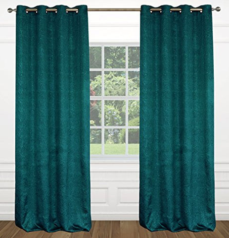 Raindrops Abstract Floral Grommet Curtain Panels (Set of 2) 54x95-in, Teal Blue