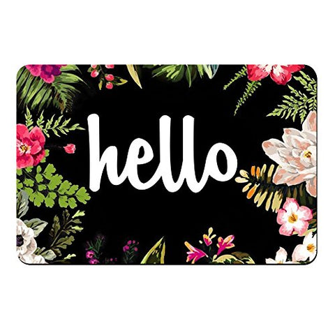 Hello Flowers Doormat Entrance Mat Floor Mat Rug Indoor/Front Door/Bathroom Mats Rubber Non Slip (30 x18 ,75 cm X 45 cm)