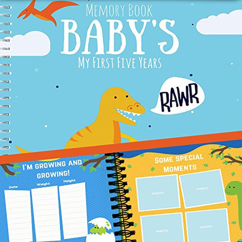 Unconditional Rosie  Baby's First Five Years Memory Book With 12 Milestone Stickers, Dinosaur Edition