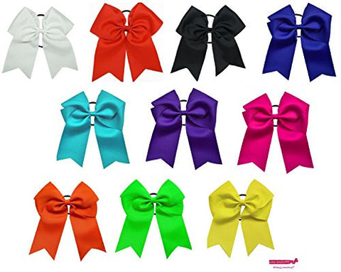7 Jumbo Cheer Bow Big Hair Bows Ponytail Holder Large Classic Accessories for Teens Women Girls Softball Cheerleader Sports Elastics Ties Handmade by Kenz Laurenz (-7 Cheer Bow Assorted)