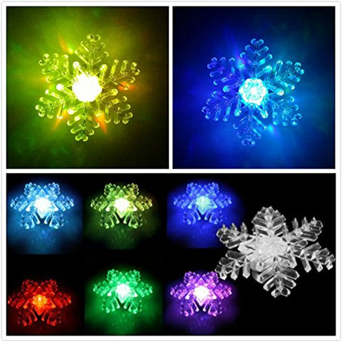 Set of 5 Suction Cup Nightlight, Snowflake LED Light Color Glow Change, Attached to Back for Hanging in a Window Christmas and Holiday Decorating New Year Wedding Part Festival Deco