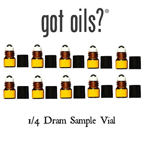 Got Oils? 1/4 DRAM SAMPLE VIAL WITH STAINLESS STEEL ROLLER (QTY OF 10) (Amber)