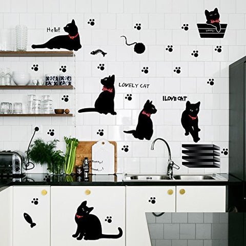 Amaonm® Removable DIY Cute Cartoon Black Cat Wall Decor Kids room Wall Sticker Lovly Playing Cat Wall Decals Peel Stick FOR Girls Children Bedroom Classroom Nursery Room Wall Corner (33*60cm)