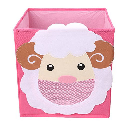 NEWSTYLE Foldable Kids' Toy Storage Bin Box - Cartoon Children Toys Chest and Closet Organizer (Smiling Sheep)