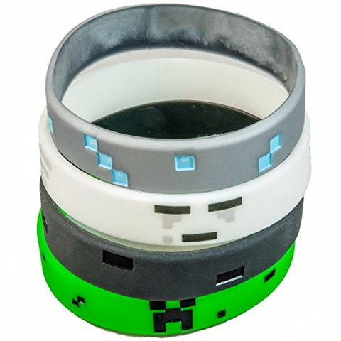 Pixellated Video Game Style Silicone Wristbands - Party Favor Set (2 of each design) - Creeper, Diamond, Ghast, Wither Skeleton